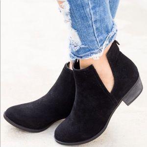 Black velvet booties